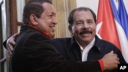 Los presidentes de Venezuela, Hugo Chávez, y de Nicaragua, Daniel Ortega, son buenos amigos y aliados.