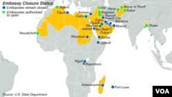 Status otvorenih i zatvorenih američkih ambasada: zelena tačka označava one koje su danas dobile dozvolu, plava - predstavništva koja ostaju zatvorena