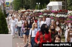 Білоруські протестувальники в Гомелі. 12 серпня 2020 року