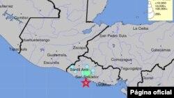 Mapa del Servicio Geológico de Estados Unidos que muestra el epicentro del temblor 5.2 que sacudió la tarde del miércoles el territorio de El Salvador. US Geological Service.