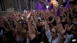 Manifestation devant le ministère de la Justice à Madrid, le 26 avril 2018.