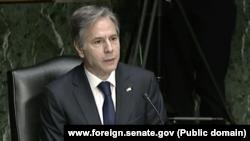 USA, Washington, state secretary Anthony Blinken while hearing in the Senate Foreign Relations Committee regarding Avganistan withdrawal