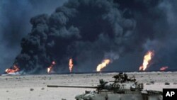 1991년 중동 걸프 전쟁시 이라크 군이 쿠웨이트 철수시 파괴한 유정