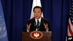 Prime Minister of Japan Yoshihiko Noda addresses a news conference in New York, September 26, 2012.