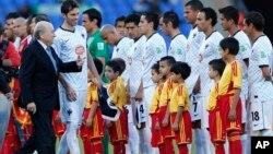 L'équipe du Maroc lors d'un match du Club de la coupe du monde à Marrakech, Maroc, le 18 décembre 2013.