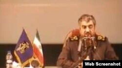 تصویر محمدعلی جعفری فرمانده سپاه پاسداران، در ویدئوی منتشر شده در شبکه های اجتماعی