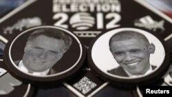 Čokoladne praline sa likovima republikanskog predsedničkog kandidata Mita Romnija i predsednika Baraka Obame