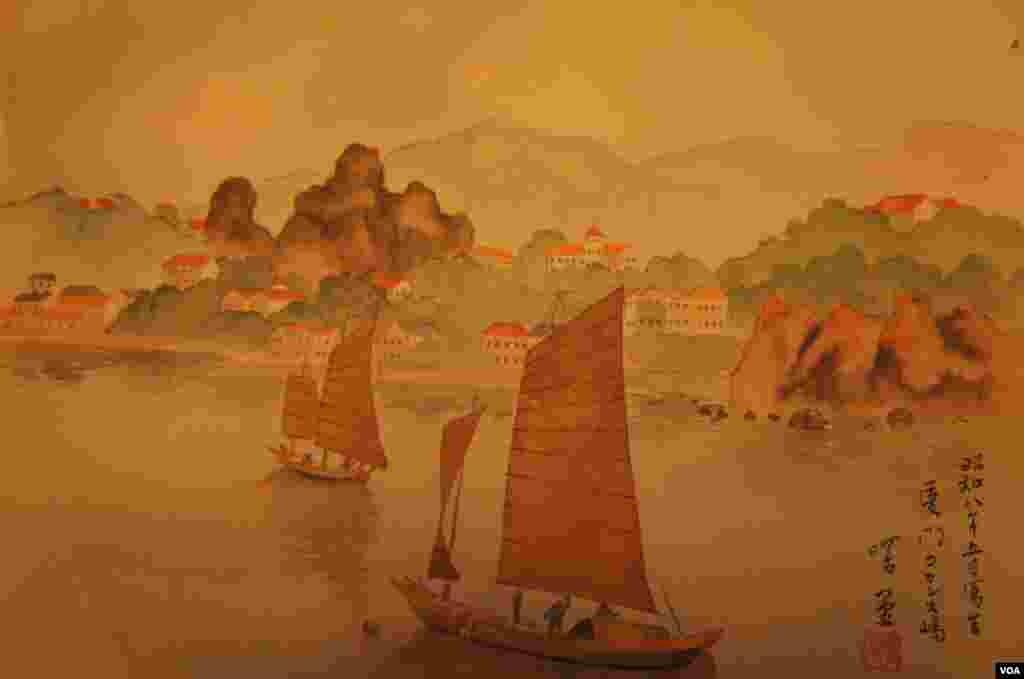 """这10张画谱中,日期最早的就是这幅""""厦门鼓浪屿"""",署明""""昭和八年(1934年)五月写生"""""""