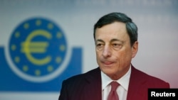European Central Bank (ECB) President Mario Draghi speaks during the monthly ECB news conference in Frankfurt, Germany, June 6, 2013.