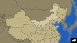 星期五,内蒙古地区出现本月内第二例鼠疫患者死亡。图为中国地图北部浅色地区的内蒙古。
