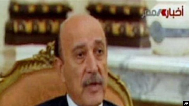 Egypt's Vice President Omar Suleiman on television, February 3, 2011