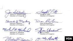 部分议员的签名(美国之音杨晨拍摄)