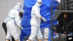 日本福岛核电站事故现场的工作人员