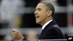 Tổng thống Obama tại lễ nhậm chức thứ hai ở Điện Capitol, Washington, D.C. (AP Photo/J. Scott Applewhite)