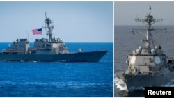 FILE - U.S. destroyer USS Benfold (L) and U.S. destroyer USS Mustin (R) are seen in this combination photo from in Pacific Ocean, June 15, 2018 and February 19, 2018 respectively.