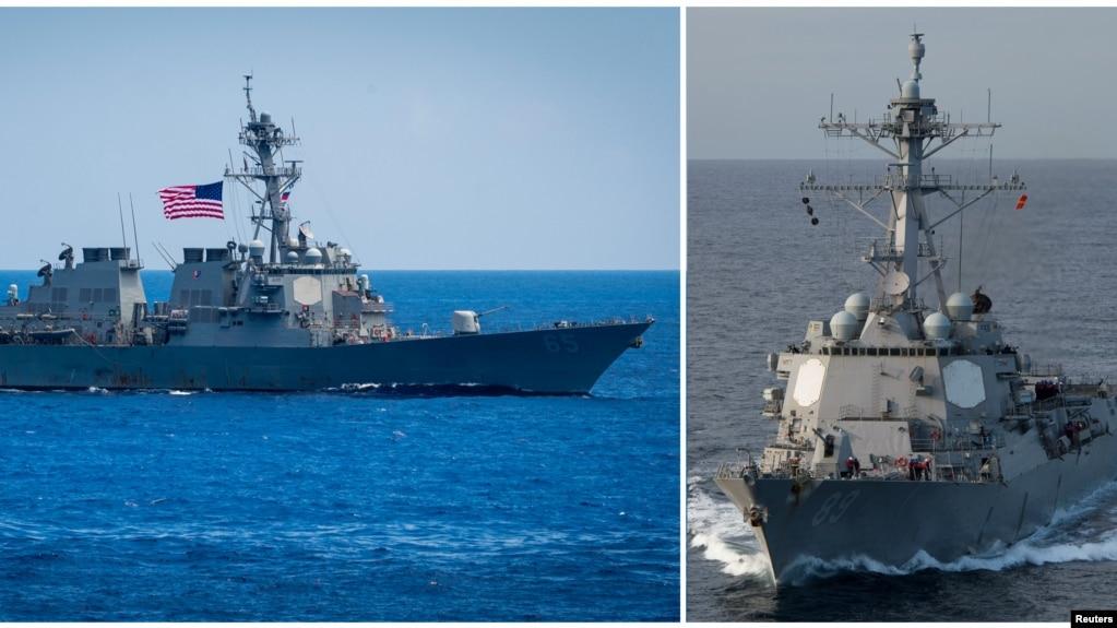 左圖:美國海軍本福德號導彈驅逐艦在太平洋(2018年6月15日)。 右圖:美國馬斯汀號導彈驅逐艦在太平洋(2018年2月19日)。 這兩艘導彈驅逐艦2018年7月航經台灣海峽。