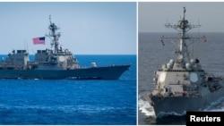 左图:美国海军本福德号导弹驱逐舰在太平洋(2018年6月15日)。右图:美国马斯汀号导弹驱逐舰在太平洋(2018年2月19日)。这两艘导弹驱逐舰2018年7月航经台湾海峡。