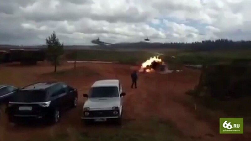 Voice of America, Russian Helicopter Fires on Spectators During Drills
