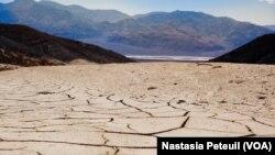 De la terre séchée dans le parc national de la Vallée de la mort, en Californie, le 19 mai 2016. (VOA/Nastasia Peteuil)