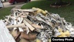 Debris piled up