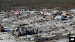 Kawasan terdampak badai Michael di Mexico Beach, Florida, 12 Oktober 2018.
