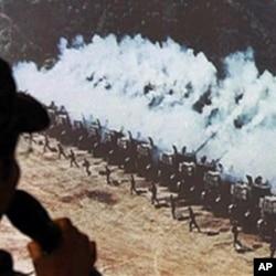 一名北韓軍人在南韓簡述北韓的軍事部署情況