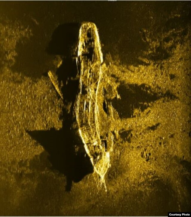 A January sonar image shows a shipwreck discovered in December 2015. (Photo courtesy of ATSB)