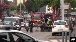 2016年7月26日,法国圣埃蒂安-昂布维的街面情况。