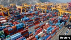 FILE - Hanjin Shipping's container terminal is seen at the Busan New Port in Busan, about 420 km (261 miles) southeast of Seoul, Aug. 8, 2013. South Korea is taking measures to help companies affected by China's trade measures.