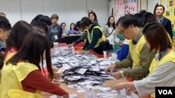 本屆香港區議會選舉投票率創下71.2%的歷史新高。(美國之音湯惠芸拍攝)