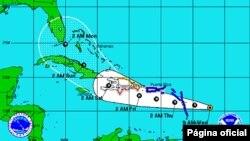 Trayectoria prevista de la tormenta tropical Isaac, que podría convertirse en huracán este jueves.