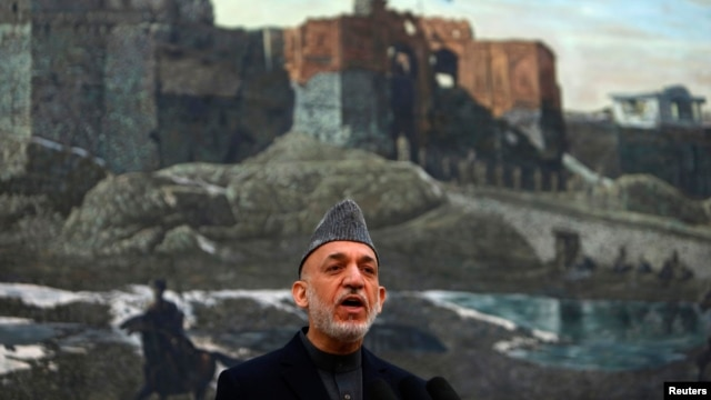 Afghan President Hamid Karzai speaks during a news conference in Kabul, Afghanistan, May 4, 2013.