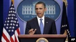 奥巴马总统4月7日在白宫记者会上谈到两党在预算问题上的分歧