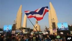 1일 태국 수도 방콕에서 반정부 시위대가 시위를 벌이고 있다.