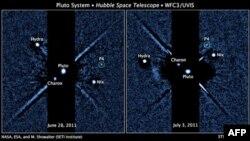 Viễn vọng kính Không gian Hubble của NASA chụp 2 bức ảnh cách nhau khoảng 1 tuần cho thấy 4 vệ tinh của Sao Diêm Vương