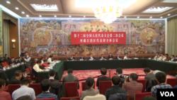 2014年3月9日中国人大会议西藏代表团开会(美国之音东方拍摄)