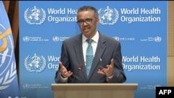 世界衛生組織總幹事譚德塞在開幕式上致辭(2020年5月18日)。