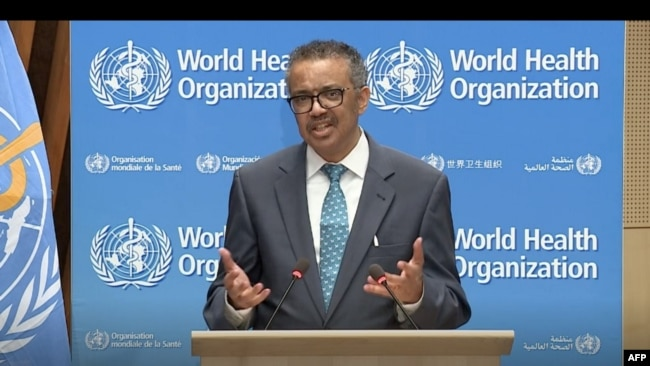 This video grab taken on May 18, 2020 from the website of the World Health Organization shows WHO Director-General Tedros Adhanom Ghebreyesus speaking through video link at the World Health Assembly virtual meeting from the WHO headquarters in Geneva. (Photo: WHO/AFP)