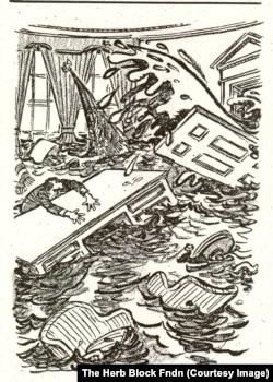 A 1973 Herblock cartoon of President Richard Nixon awash in his office.