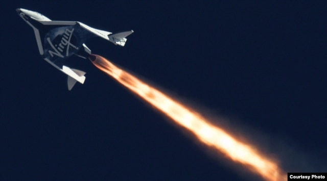 Virgin Galactic's SpaceShipTwo is seen flying over the Mojave Desert in California on Sept. 5.