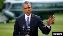 13일 바락 오바마 미국 대통령이 백악관에서 행한 연설에서 이라크 사태 관련 입장을 밝히고 있다.