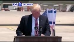 Perezida w'Amerika Donald Trump yabonanye n'abayobozi ba Isiraheli n'aba Palestina mu gihugu cya Isiraheli.