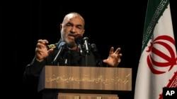 FILE - Islamic Revolutionary Guard Corps chief Hossein Salami speaks in Tehran, Iran, Sept. 21, 2019.