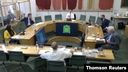 Dominic Cummings, former special advisor for Britain's PM Boris Johnson faces questions from UK lawmakers in London, May 26, 2021.
