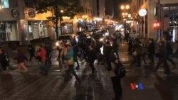 抗議者高呼'建橋樑不建圍牆' 抗議川普當選