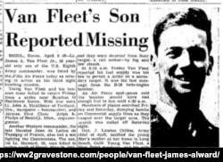 세계2차 대전에 참전한 용사들의 생애를 소개하는 사이트 '세계2차대전 묘비'에 게재된 제임스 반 플리트 2세의 실종 기사. 이 기사는 1952년 4월 6일 1면에 실렸다.