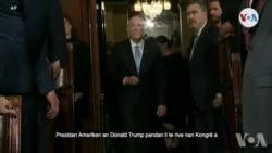 Prezidan Ameriken an Donald Trump nan Moman Li Te Rive nan Kongrè a pou Fè Diskou sou Eta Inyon an