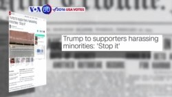 VOA60 Elections - CNN: President-elect Donald Trump said his supporters to stop the post-election harassment of minorities