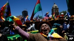 Abanywanyi ba perezida wa Bolivia Evo Morales mu myiyerekano i La Paz, Bolivia.