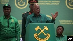 President John Magufuli speaks at the national congress of his ruling Chama cha Mapinduzi party in Dodoma, Tanzania, July 11, 2020. Magufuli is seeking reelection; opposition parties and rights groups want an independent body to oversee October's vote.